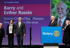 Ian H.S. Riseley, 2017-18 RI president, introduces president-elect Barry Rassin and the RI Board of Directors during general session 2 of the International Assembly, 15 January 2018, San Diego, California, USA.